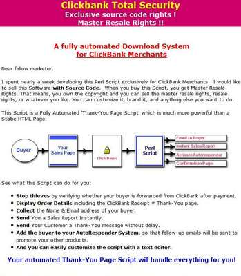 Product picture Clickbank Total Security - Secure Thank-You Page (MRR)